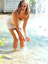Small Tits, Riley plays in the fountain and naked in public