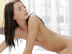 Brunette hottie Leyla Peachbloom enjoys her mans fingers and hard cock as he pleasures her tight anus and bald pussy
