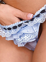 lingerie panties, Crissy has on some super cute blue lingerie, but not for long!