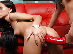 Liana stretches Sashas pussy and asshole with a huge strapon dildo!