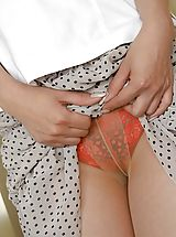 women panties, Naughty Royoko is masturbating her pussy