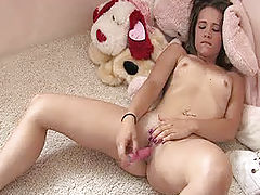 Denise plays with her new dildo